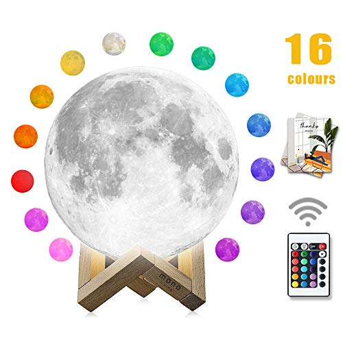 Moon Lamp, mono living,16 Colors 3D Print Moon Light (5.9inch) LED with Stand, Remote Control, Baby Night Light Birthday Anniversary Gifts Family Couple Daughter Mother Teen Girl Boyfriend Girlfriend