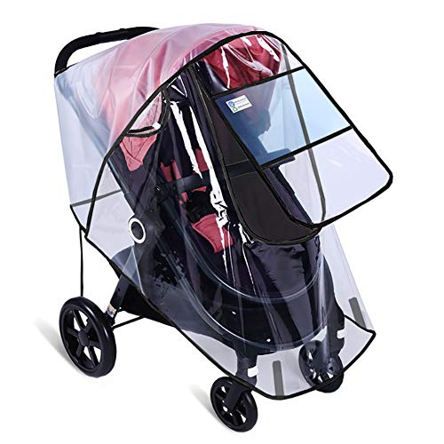 Stroller Rain Cover by Hombae, Universal Baby Stroller Weather Shield, Waterproof Stroller Cover, Travel Umbrella Stroller Wind Dust Shield, Stroller Cover for Rain, Food Grade EVA, Eye Protect