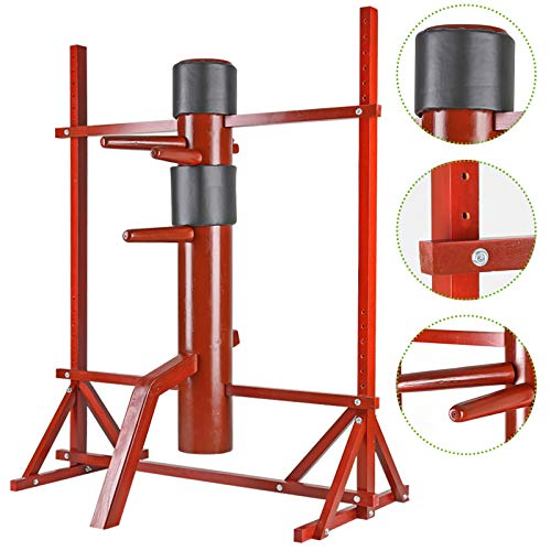 Flex HQ Adjustable Wing Chun Dummy Mook Yan Jong IP Man Training Target Red with Frame Stand