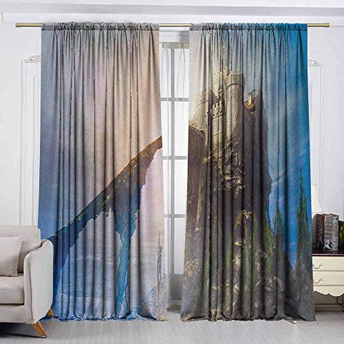 VIVIDX Window Curtains,Medieval,Old Ancient Fantastic Castle on The Hill Legendary Royal Stories of Middle Age Mist,Room Darkening, Noise Reducing,W55x72L Inches Grey Blue