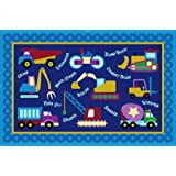 LA Rug Olive Kids Under Construction 39-by-58-Inch Nylon Rug