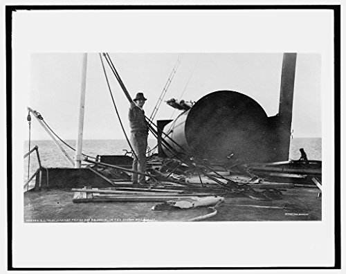 24 x 20 Art Canvas Print of S.S. M.W. i.e. Howard M. Hanna top of after cabin after storm 1913 Detriot Publishing co. 85a