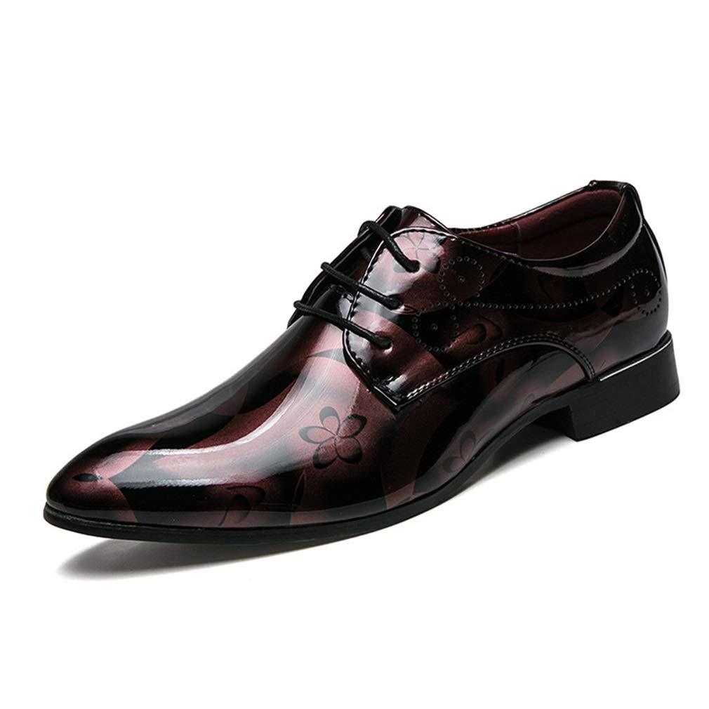 YAN 2018 Business Schuhe Herren Kleid, Spitz Lackleder Lace up Gummisohle Hochzeit Modische Büro Floral Vintage Casual Flat B
