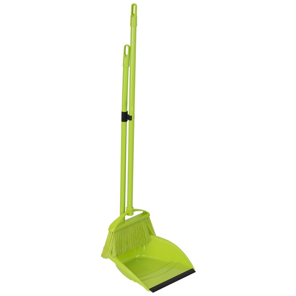 Home Basics Brights Collection Floor Cleaning Supplies (Green, 2 Piece Sweeper Set)
