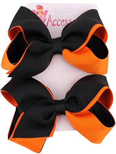 Halloween Orange and Black Grosgrain Bow - Posh Girl Spice Costume