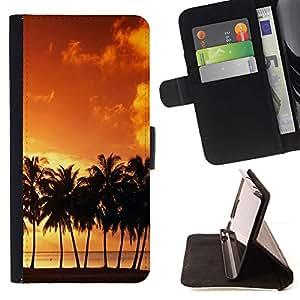 For Sony Xperia M4 Aqua Case , Puesta de sol de coco Beautiful Nature 120- la tarjeta de Crédito Slots PU Funda de cuero Monedero caso cubierta de piel