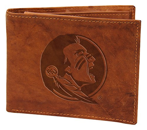 Rico NCAA Florida State Seminoles Embossed Genuine Leather Billfold Wallet, Tan, 4.5-inch by 3.5-inch
