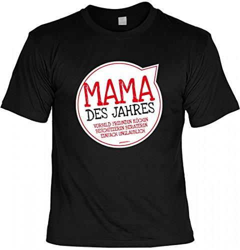 T-Shirt Mutter Mami - Mama des Jahres - Geschenk Idee mit Humor zum Muttertag oder Geburtstag - schwarz