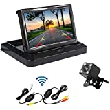 Camecho Car Wireless Backup Camera 5 Inch Foldable Color TFT Monitor Mini Size Rear Camera4 LED Night Vision IP 67 Waterproof 170 Degree Wide View