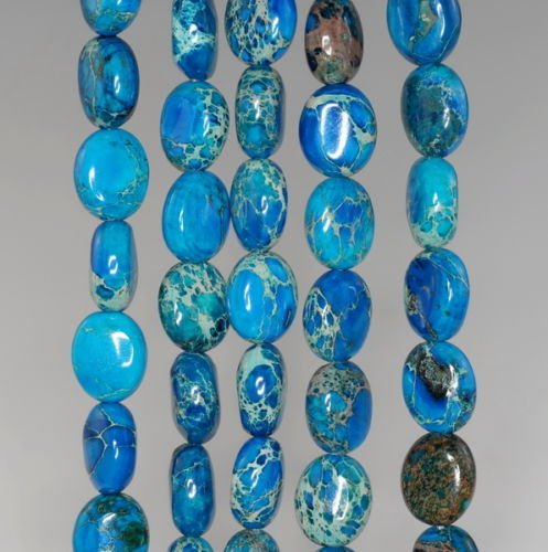 - 10X8MM Imperial Jasper Gemstone Blue Oval Loose Beads 16'',