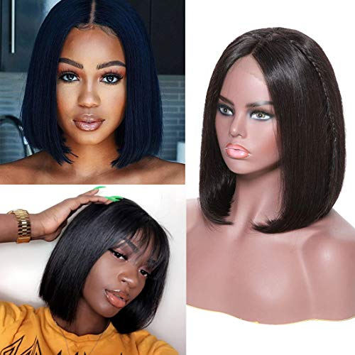 Beauty Forever Human Hair 13x4 Bob Lace Front Wig For Black Women 150% Density Brazilian Virgin Straight Hair Lace Wig with Pre Plucked Hairline Natural Color (8