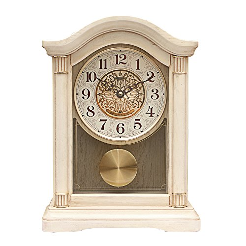 Brown Clock Dot - Y-Hui Kim Jong-Bo Solid Wood Base Clock The Whole Dot Peening Time Desk Clock Mute Sitting In The Living Room Clock Bedroom Swinging Watches, 12 Inch, The Forté Ankang (Brown)