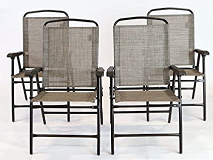 ISO Outdoor Patio Sling Folding Chairs, Gray/Brown, Set Of 4