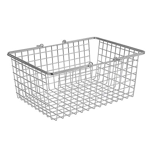 Spectrum Diversified Wire Storage Basket, Large, Chrome (Handles Baskets With Small Metal)