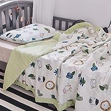 "J-pinno Animals Lion Giraffe Monkey Cute Muslin Quilt Blanket Bedding Coverlet Twin, 100% Cotton Comforter Bedspread Throw Blanket for Kid's Boys Bedroom Decoration Gift (6, Twin 59"" X 78"")"