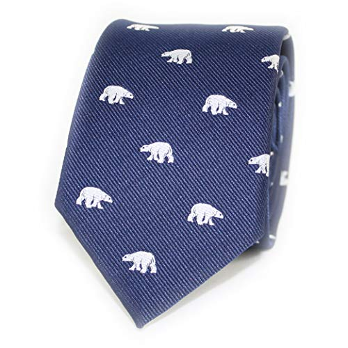 MENDEPOT Polar Bear Tie With Box White Polar Bear Pattern Navy Necktie -