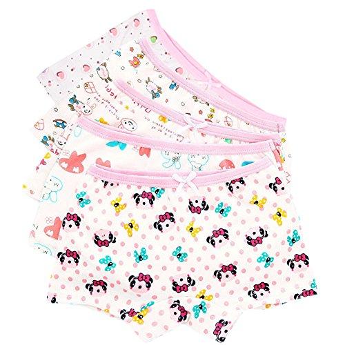 CHIC-CHIC 5 Pack Girls' Cute Cartoon Knickers Boxers Briefs Underwear Shorts Boyshort (5-6 years old)