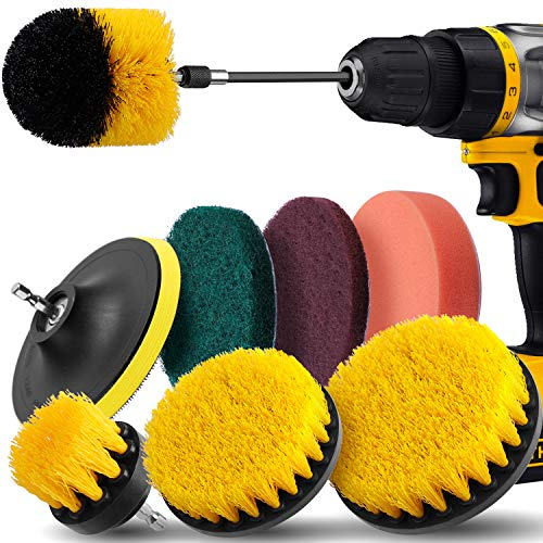 Drill Brush Attachment Set - Power Scrubber Drill Brush Kit, 9 Piece,Scrub Pads & Sponge,Power Scrubber Brush with Extend Long Attachment for Grout,Tiles,Sinks,Bathtub,Bathroom,Kitchen & Automoblie