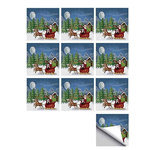 C COABALLA Christmas Stylish Ceramic Tile Stickers 10 Pieces,Country Landscape at Night with Trees Santa Claus Snowdrift Reindeers Mountains Decorative for Kitchen Living Room,7