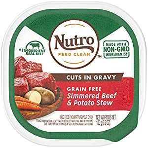 NUTRO Adult High Protein Natural Grain Free Wet Dog Food Cuts in Gravy Simmered Beef & Potato Stew, (24) 3.5 oz. Trays