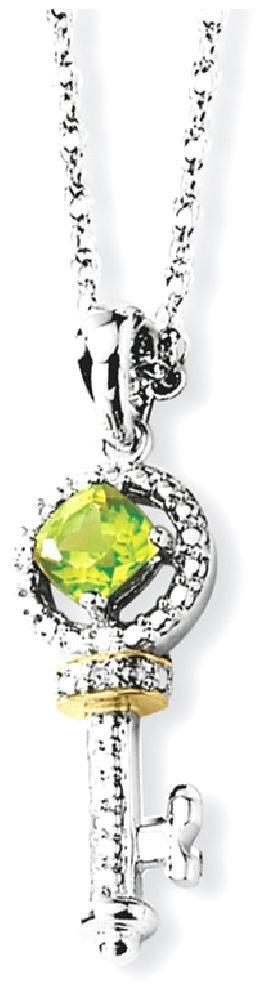 ICE CARATS 925 Sterling Silver 14k Green Peridot Diamond Key Chain Necklace Gemstone Fine Jewelry Gift Set For Women Heart