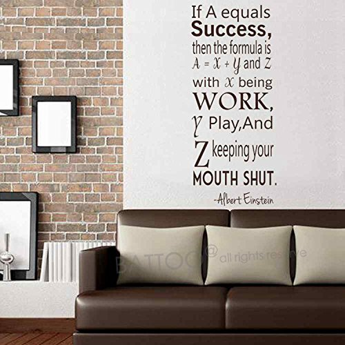 BATTOO Albert Einstein Wall Decal Success Quote for College Dorm D¨¦cor Office Apartment Vinyl Sticker Teen's Gift Inspiring Quotes(Dark Blue, 34'' h x14.5 w) by BATTOO (Image #1)