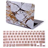 """HDE MacBook Pro 13"""" Retina Case Hard Shell Cover Designer Pattern + Keyboard Skin - Fits 13.3"""" Apple Mac (No CD Drive) Model A1425 / A1502 (White and Gold Marble)"""