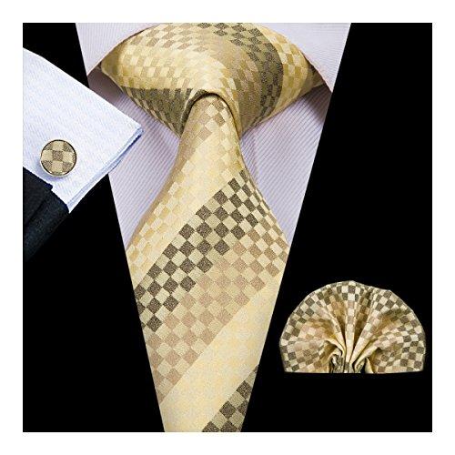 Hi-Tie Wedding Tie for Men Silk Tie Set Hanky Cufflinks Formal Yellow Stripe Tie New ()