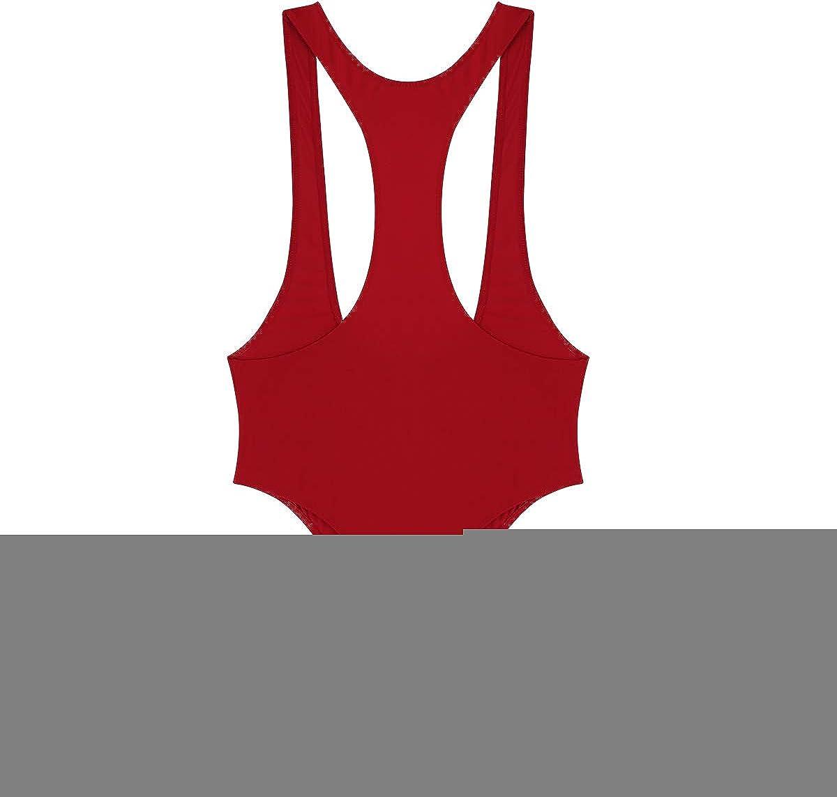 Yeahdor Womens One Piece High Cut Thong Leotard Sleeveless Open Chest Bodysuit Teddy Swimwear