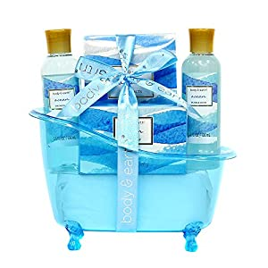 Spa Gift Baskets for Women, Body & Earth Bath Gift Set with Tub, Gifts for Her, Ocean 5pc, Best Gift Idea for Women