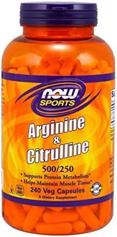 NOW Sports Nutrition, Arginine Citrulline 500 mg 250 mg, Amino Acids, 240 Veg Capsules