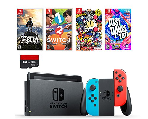 Nintendo Switch 6 items Bundle:Nintendo Switch 32GB Console Neon Red and Blue Joy-con,64GB Sd Card,4 Game Disc1-2-Switch Just Dance2017 The Legend of Zelda Super Bomberman - Parts Console Nintendo 64