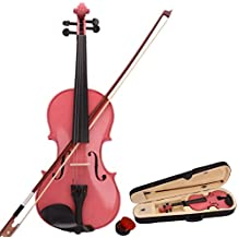 Crazyworld 4/4 Full Size Pink Acoustic Violin Fiddle with Case Row Rosin Wood Color New