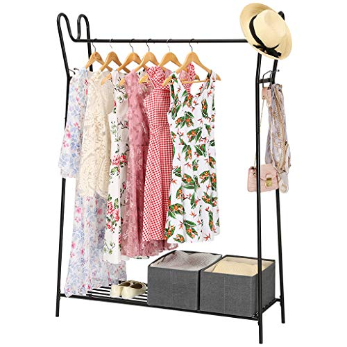LANGRIA Modern Heavy-Duty Garment Rack with Single Hanging Rod, Bottom Shelf for Shoes, 4 Side Hooks for Extra Storage Capacity and Stable A-Shape Metal Frame, Max Load Capacity 143 lbs (Black)
