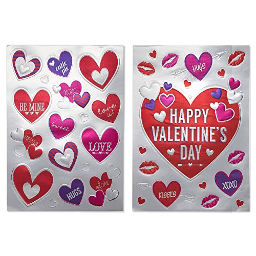 Valentine Stickers - 34-Piece Assorted Hearts Stickers, Valentine Decorations, Removable Decorative Decals for Anniversaries, Dates, Valentines Day, 11.25 x 15.5 - Date Valentines