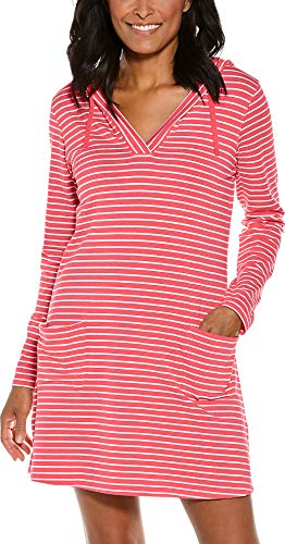 (Coolibar UPF 50+ Women's Beach Cover-Up Dress - Sun Protective (X-Large- Sunset Coral/White Stripe))