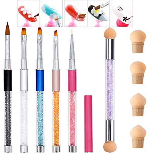 6 Pcs Acrylic Nail Brush Set for Nail Art, Eyxformula Blooming Gel Nail Polish Acrylic Brushes for Nails Dotting Painting Pen Set with Dual Ended Nail Sponges for Ombre Nail Gradient Shading Pen