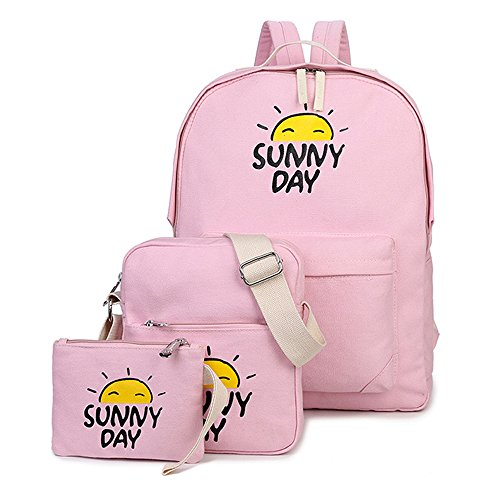 Minetom Backpack Mochilas Escolares Mochila Escolar Casual Bolsa Viaje 3 Piezas Embrague Bolsa De Mensajero Dibujos Animados Nieto rosa