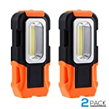 2 Pack Portable LED Work Light, 200lm Brilliantly Bright Multi-use COB Flashlight, Magnetic Base & Hanging Hook, 16ft Irradiate Distance, 120° Beam Angle Flood Light, for Blackout, Car Repairing