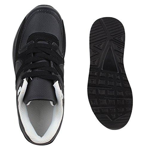 Kinder Sportschuhe Materialmix Bequeme Laufschuhe Schnürschuhe Sneakers Sneaker Profilsohle Flandell Schwarz Berkley