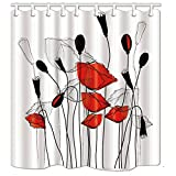 Red and Gray Shower Curtain KOTOM Floral Decor Shower Curtain, Red Gray Black Flowers, Polyester Fabric Bath Curtains with Hooks 69W X 70L Inches