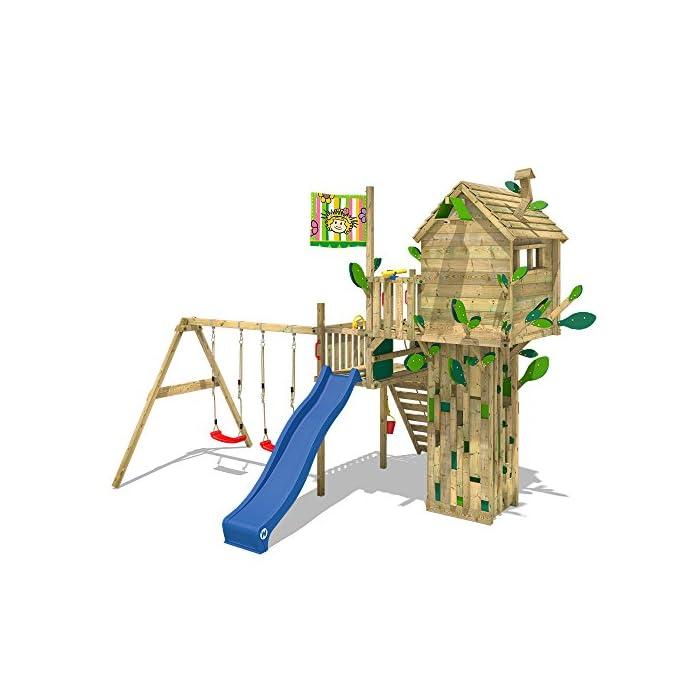 518ciG4ckYL WICKEY Casa del árbol casa de juegos incl. mesa y un banco, techo de madera, paredes de escalada y un montón de accesorios Viga de columpio de 9x9cm, postes verticales de 7x7cm - Calidad y seguridad aprobada - Made in Germany Madera maciza impregnada en clave, de fácil mantenimiento - Instrucciones de montaje sencillas y detalladas
