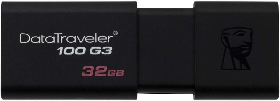 Kingston DataTraveler 100 G3-DT100G3/32GB USB 3.0, 3.1 PenDrive, 32 GB, 1 Pezzo, Nero