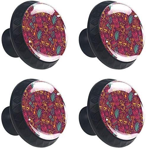 Patrón de Carnaval Brasileño con Máscaras Tambores Guitarras Estilo magnífico gabinete de cerámica perillas Tire manijas para Muebles Armario cajón Armario Cocina baño