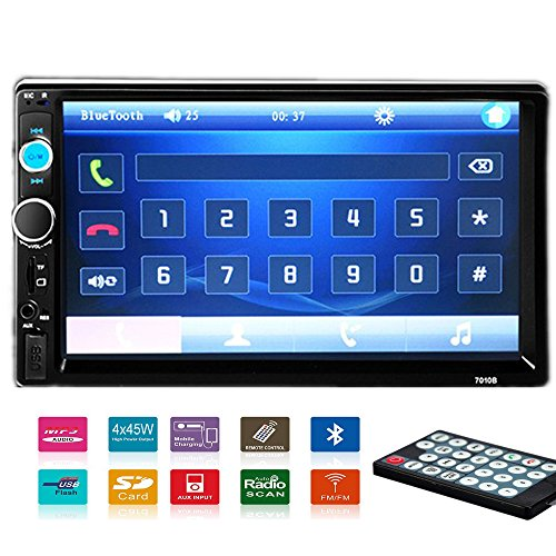 Polarlander 2 DIN 7'' Inch LCD Touch Screen Car Radio Player Support Bluetooth Hands Free 1080P Movie Rear View Camera by Polarlander
