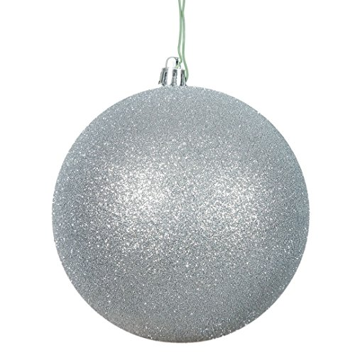 (Vickerman N590807DG Glitter Ball Ornaments with Shatterproof UV Resistant, Pre-drilled cap Secured & 6