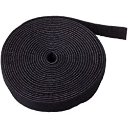 """TNP Hook And Loop Tape Strap Cable Ties Fastener (Black) (15 Feet) - Sticky Self Adhesive Nylon Fabric Roll Wrap 0.75"""" Wide 5 Yards Reusable For Cutting Custom Length Cord Wire Fastening"""
