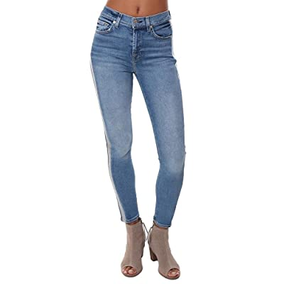 7 For All Mankind Women's The High-Waisted Ankle Skinny with Wide Silver Lurex Stripe in Muse: Clothing