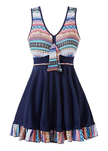 COCOPEAR Women's Tribal Print One Piece Swimdress Skirted Bottom Swimsuit(FBA) MidnightBlue -