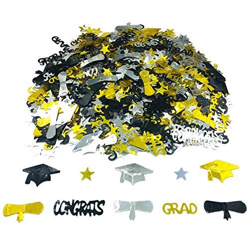 Graduation Decoration Confetti for Grad Party 1.1 oz-Congrats, Grad, Star, Graduation Cap, Diploma Gold, Black, Silver Mix Color -